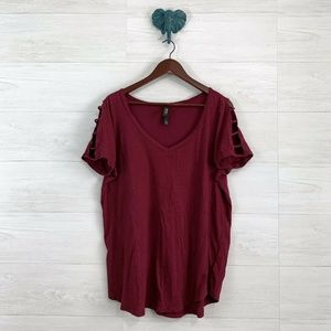 Torrid SZ 1 Brick Red V Neck Ladder Cutout Tee